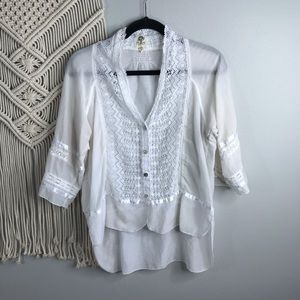 ANTHROPOLOGIE TINY WHITE LACE BLOUSE Small